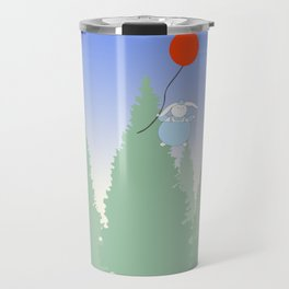 Cute Fat Bunny with Red Balloon Travel Mug