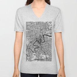 Brisbane Map Gray Unisex V-Neck