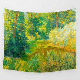 Václav Radimský (1867-1946) Branch of a river Impressionist Landscape Painting Bright Colors Oil Wall Tapestry