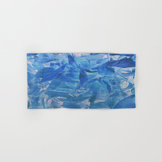 Abstract Blue Leaves Hand & Bath Towel