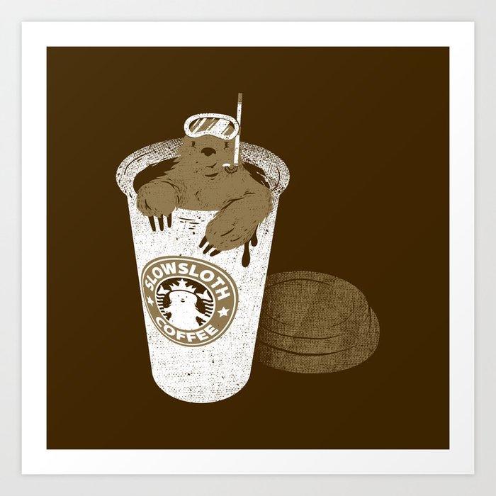 SlowSloth Coffee Dive Art Print