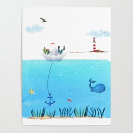 Paperboat Cacti Poster