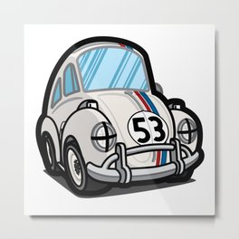 Cartoony - Racing Herbie Metal Print