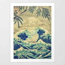 The Great Blue Embrace at Yama Art Print