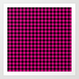 Classic Hot Pink Country Cottage Summer Buffalo Plaid Art Print