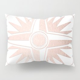 Rose Gold on White Compass Pillow Sham
