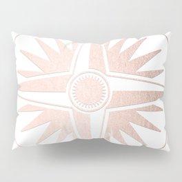 Rose Gold on White Compass Pillow Sham