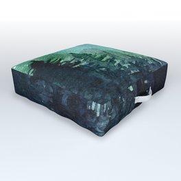 Galaxy Watercolor Aurora Borealis Painting Outdoor Floor Cushion