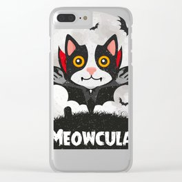 Meowcula Funny Halloween Cat Clear iPhone Case