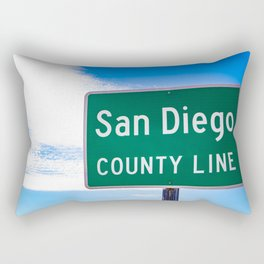 Closeup of the San Diego County Line Sign against a Blue Sky in the Anza Borrego Desert State Park Rectangular Pillow