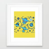 airplanes Framed Art Prints featuring blue airplanes by Isabella Asratyan