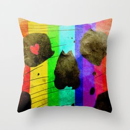 Vintage Colourful Skull Throw Pillow