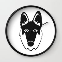 german shepherd Wall Clocks featuring German Shepherd by anabelledubois