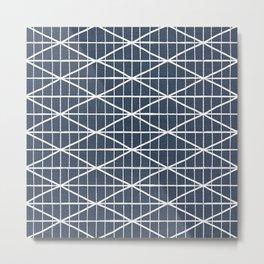 Navy blue & white brushed crossed lines pattern Metal Print