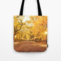 new york city Tote Bags featuring New York City Autumn by Vivienne Gucwa