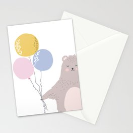 Sweet bear with balloons, whimsical art print. Stationery Cards