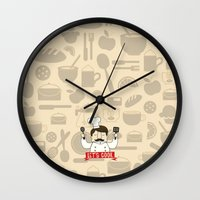 cook Wall Clocks featuring Let's Cook! by Lalaine Lim