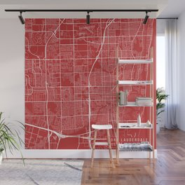 Fort Lauderdale Map, USA - Red Wall Mural