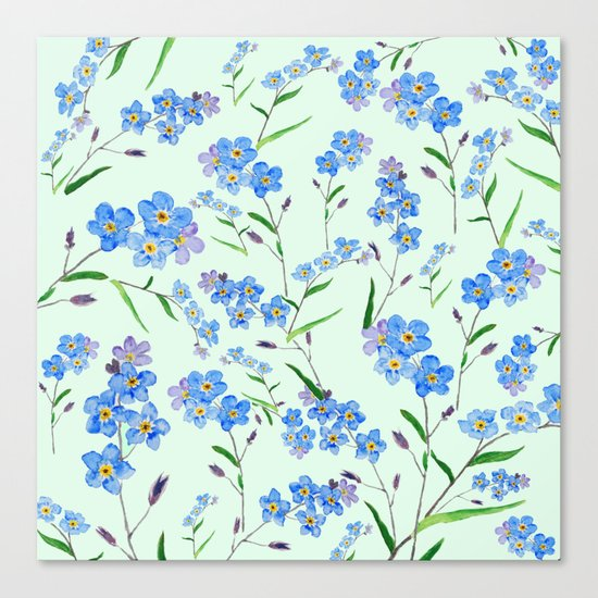 forget me not in green background Canvas Print