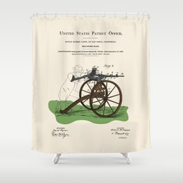 Machine Gun Patent Shower Curtain