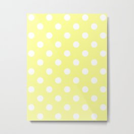 Polka Dots - White on Pastel Yellow Metal Print