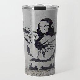 mona lisa - banksy Travel Mug