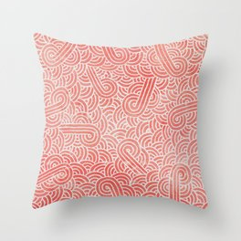Peach echo and white swirls doodles Throw Pillow