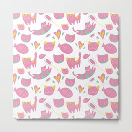 Cute mauve pink teal yellow cat fish animal pattern Metal Print
