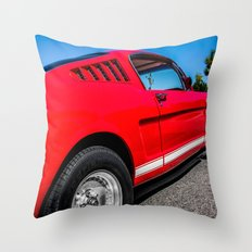 1965 Red Fastback Ford Mustang Muscle Car Throw Pillow