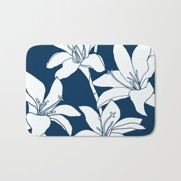 Amaryllis Floral Line Drawing, White Petals on Midnight Blue Bath Mat