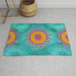 Magic Sun Mandala In Bold Colors Rug
