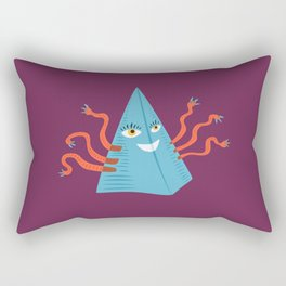 Weird Blue Pyramid Character With Tentacles Rectangular Pillow