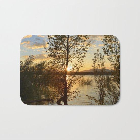 """Sun through the trees"". Spring sunset. Bath Mat"