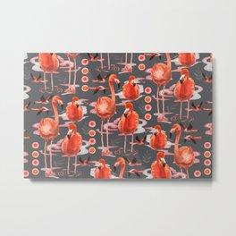 Watercolor flamingo paradise - red Metal Print