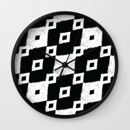 Tribal Ikat Black and White Pattern Wall Clock