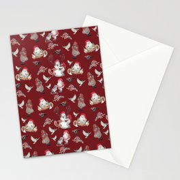 Red Gnome Pattern - Christmas Stationery Cards