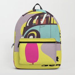 Visit the Seaside vintage car poster Backpack