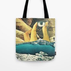 holding up Tote Bag