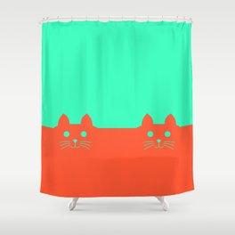 Meow Orange Turquoise Shower Curtain