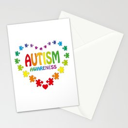 Autism Shirt in Shape of Heart made from Puzzle Pieces Tee Stationery Cards