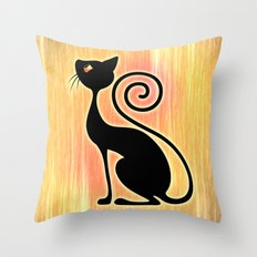 Black Cat Vintage Style Design Throw Pillow