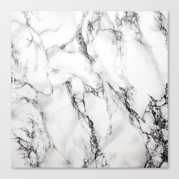 White Faux Marble Texture Canvas Print By Artonwear