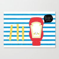 french fries Canvas Prints featuring French Fries by Marcela Chermont