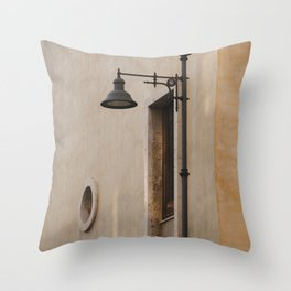 BLACK METAL SCONCE ON BROWN CONCRETE WALL Throw Pillow