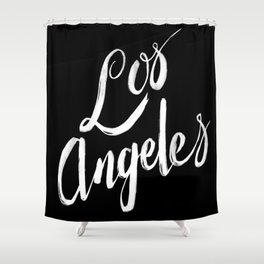 Los Angeles - Hand Type - Black Shower Curtain