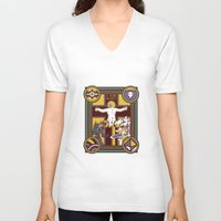 evangelion V-neck T-shirts featuring Illuminated Evangelion by C. A. Neal