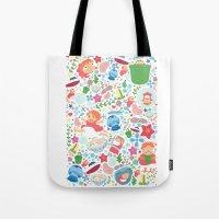 ponyo Tote Bags featuring Ponyo Pattern - Studio Ghibli by Teacuppiranha