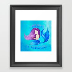 I Believe in Mermaids - Galactic Purple Blue Mermaid Framed Art Print