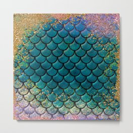 Rainbow Glitter Sparkly Scales Metal Print
