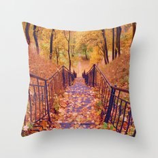 Stairs in the Fall Throw Pillow